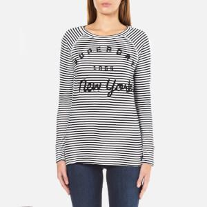 Superdry Women's Applique Raglan Long Sleeve Top - Black/Optic Stripe