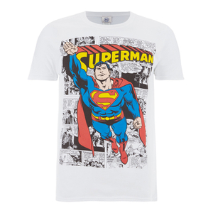DC Comics Men's Superman Comic Strip T-Shirt - White