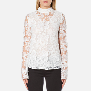 Perseverance Women's 3D Embroidered Paisley Top with Bell Sleeves and High Collar - White