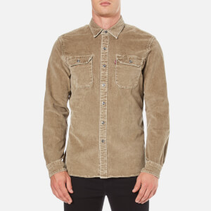 Levi's Men's Authentic Wash Cord Worker Shirt - Olive Grey