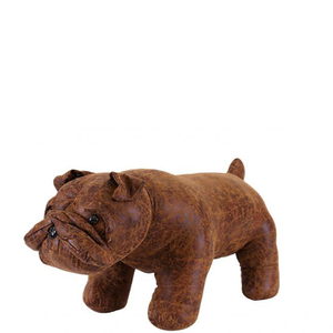 Leather British Bulldog Footstool - Brown