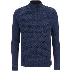 Threadbare Men's Redford Textured Quarter Zip Neck Funnel Knitted Jumper - Rich Navy