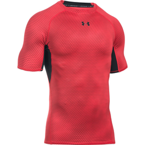 Under Armour Men's HeatGear Armour Printed Short Sleeve Compression T-Shirt - Red/Black