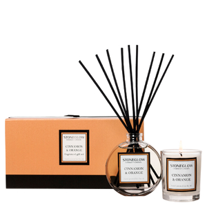 Stoneglow Cinnamon and Orange Candle and Reed Gift Set