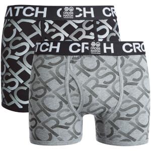 Crosshatch Men's Equalizer 2-Pack Boxers - Black/Grey Marl