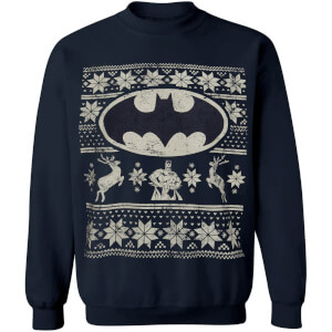 DC Comics Men's Batman Fairisle Weihnachts-Sweatshirt – Navy
