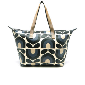 Orla Kiely Women's Matt Laminated Stripe Tulip Print Zip Shopper Bag - Dusk