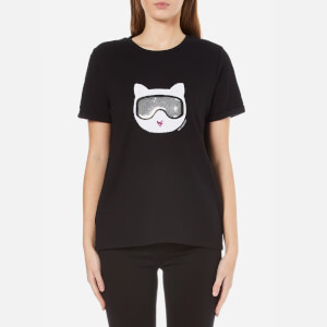Karl Lagerfeld Women's Furry Winter Choupette T-Shirt - Black