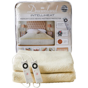 Dreamland Sleepwell Intelliheat Soft Fleece Heated Mattress Protector - Cream - Double Dual