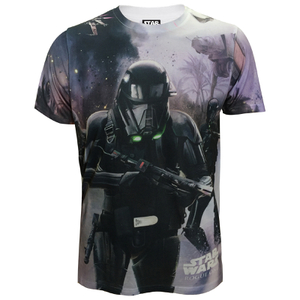 Star Wars: Rogue One Mens Death Trooper Battle T-Shirt - Wit