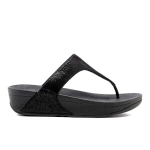 FitFlop Women's Shimmy Suede Toe-Post Sandals - Black Glimmer