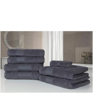 Highams 100% Egyptian Cotton 7 Piece Towel Bale - Grey