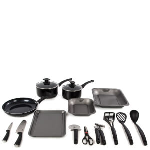 Tower 14 Piece Aluminium Kitchen Starter Set - Black
