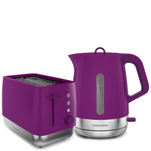 Morphy Richards Chrome Kettle and Toaster Bundle - Orchid