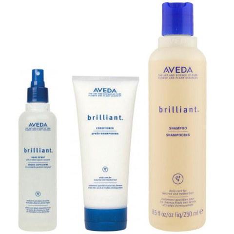 Aveda Pflege Trio für Haarglanz Brilliant Shampoo, Conditioner & Hair Spray