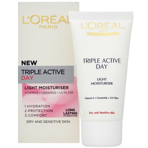 Hidratante de día L'Oreal Paris Dermo-Expertise Triple Active Light - piel seca/sensible (50ml)