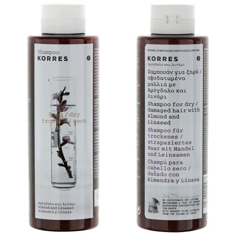 Korres Shampoing Almond and Linseed pour cheveux secs/endommagés (250ml)
