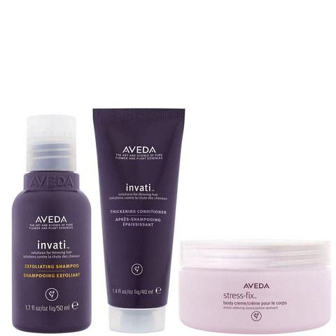 Aveda Invati Shampoo und Spülung (Reisegrößen) mit Stress-Fix Körpercreme