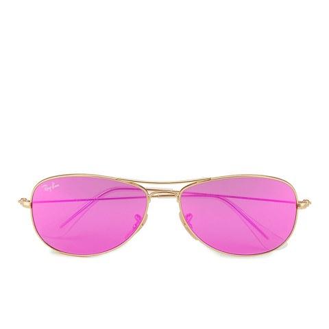 Ray-Ban Women's Cockpit Sunglasses - Matte Gold/Cyclamen Mirror - 56mm