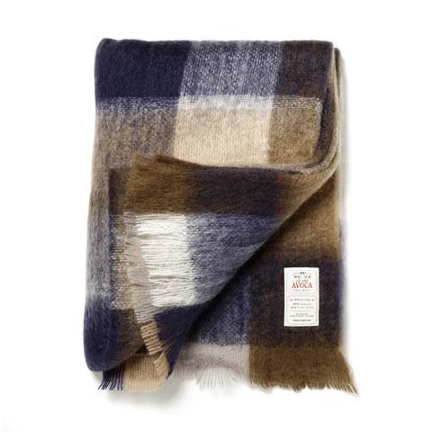 Avoca Mohair M50 Throw (142 x 183cm) - Blue/Brown/Cream