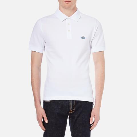 Vivienne Westwood MAN Men's Orb Logo Pique Polo Shirt -White