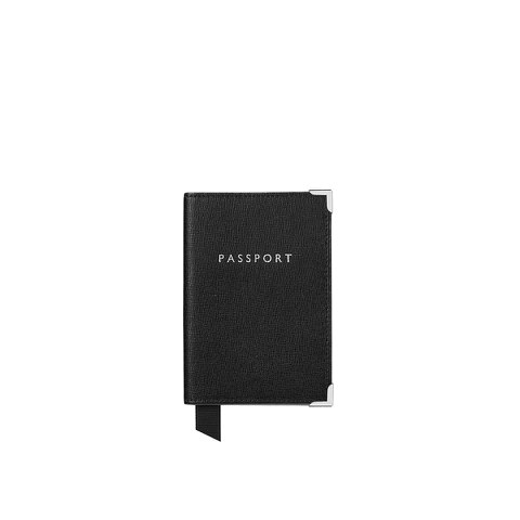 Aspinal of London Passport Cover - Black Saffiano