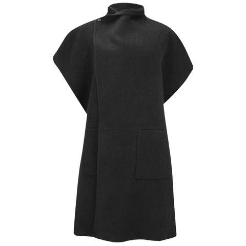 Tibi Women's Reversable Double Faced Wool Angora Coat - Black