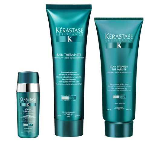Kérastase Resistance Therapiste trio shampooing (250ml), soin hydratant (200ml) et sérum (30ml)