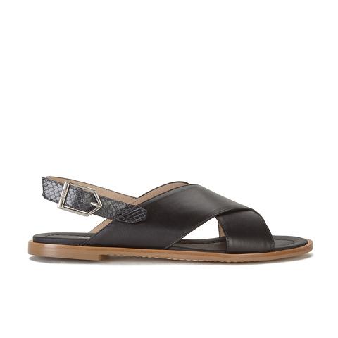 HUGO Women's Valenteen Snake Print Leather Crossover Sandals - Black