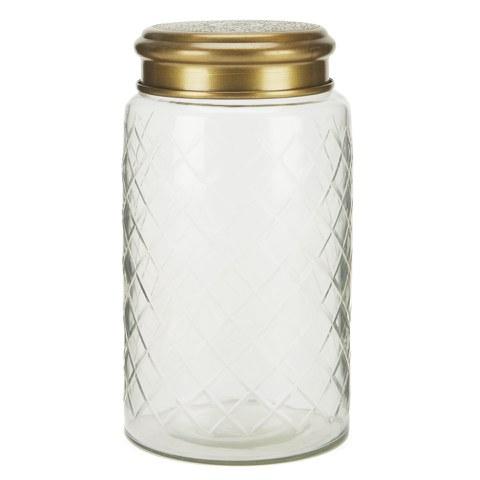 Nkuku Antique Brass Etched Glass Pot - Large - Clear