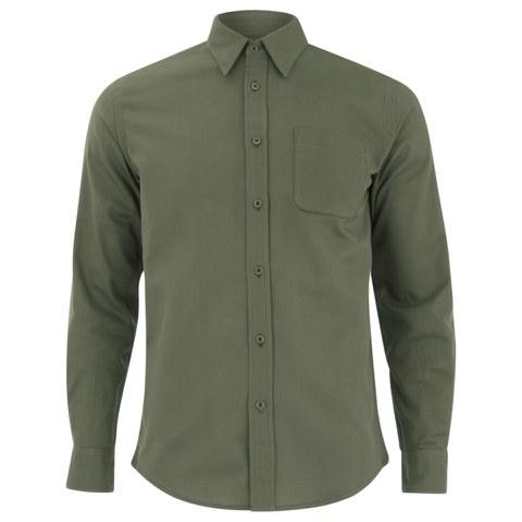 Knutsford x Tripl Stitched Men's Long Sleeve Woven Pique Shirt - Khaki
