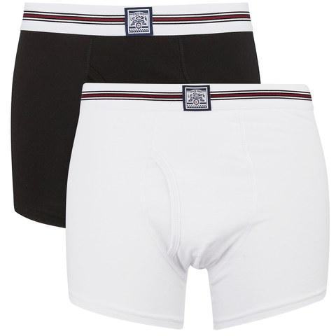 Le Shark Men's 2 Pack Striped Waistband Boxers - Black/White