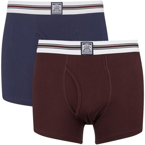 Le Shark Men's 2 Pack Striped Waistband Boxers - Medieval Blue/Port