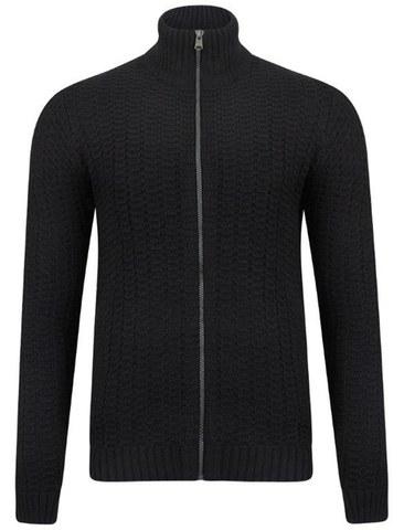 Tokyo Laundry Men's Clancy Zip Through Textured Knit - Dark Navy