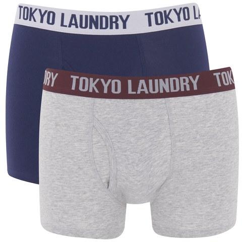 Tokyo Laundry Men's 2-Pack Kobe Boxers - Medieval Blue/Light Grey Marl