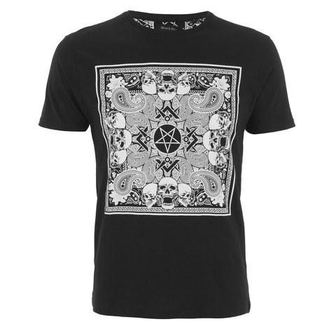 Brave Soul Men's Gothic Printed T-Shirt - Black