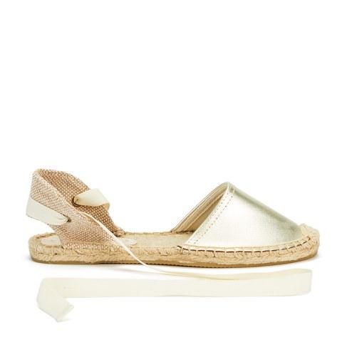 Soludos Women's Classic Leather Espadrille Sandals - Metallic Platinum