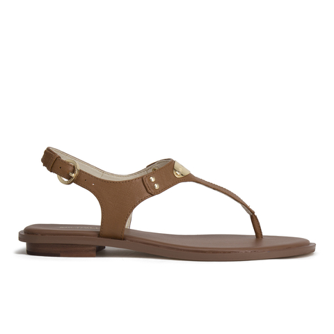MICHAEL MICHAEL KORS Women's MK Plate Thong Flat Sandals - Luggage
