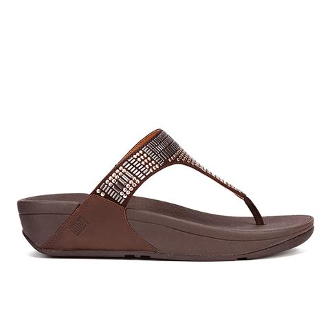 FitFlop Women's Aztek Chada Suede Toe Post Sandals - Chocolate