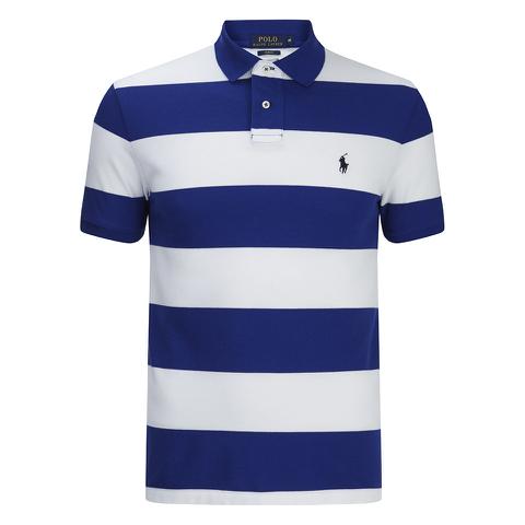 Polo Ralph Lauren Men's Short Sleeve Slim Fit Striped Polo Shirt - Royal/White