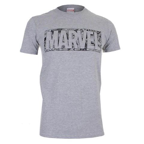 Marvel Men's Strip Logo T-Shirt - Sport Grey