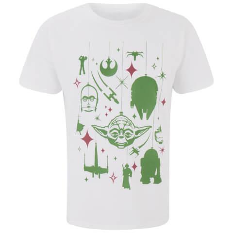 Star Wars Yoda Festive Galaxy Weihnachts-Herren T-Shirt - Weiss