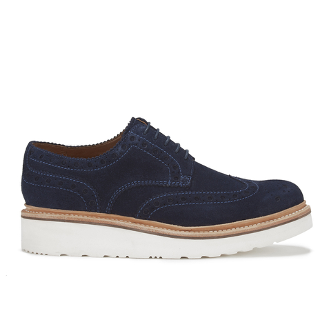 Grenson Men's Archie V Suede Brogues - Navy