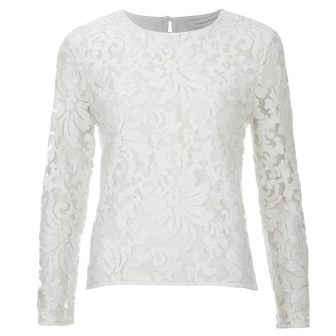 Diane von Furstenberg Women's Belle Emb Long Sleeve Lace Top - White