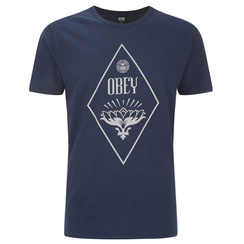 OBEY Clothing Men's Diamond Lotus Slub T-Shirt - Navy
