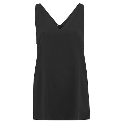 Alexander Wang Women's Sleeveless V-Neck Tunic Top with Zipper Detail - Onyx