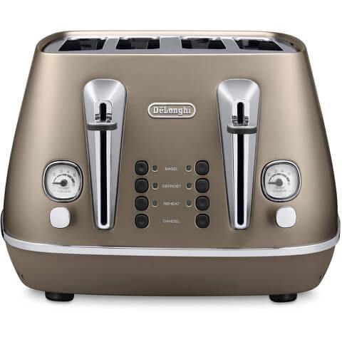 De'Longhi CTI4003.BZ Distinta 4 Slice Toaster - Bronze Finish