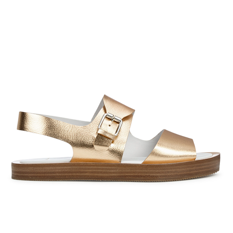 Paul Smith Shoes Women's Ilse Leather Double Strap Sandals - Vanilla Rodeo Metallic