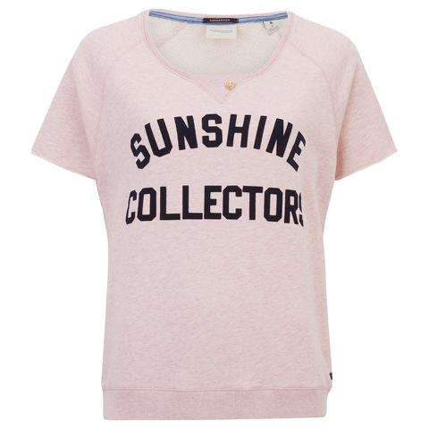 Maison Scotch Women's Short Sleeve Sweatshirt with Text Print - Pink