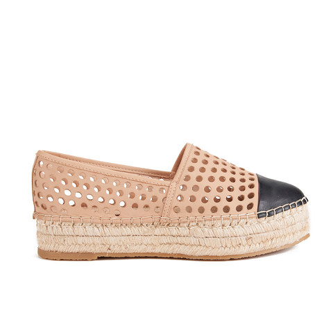 Loeffler Randall Women's Mariko Perforated Flatform Espadrilles - Buff/Black